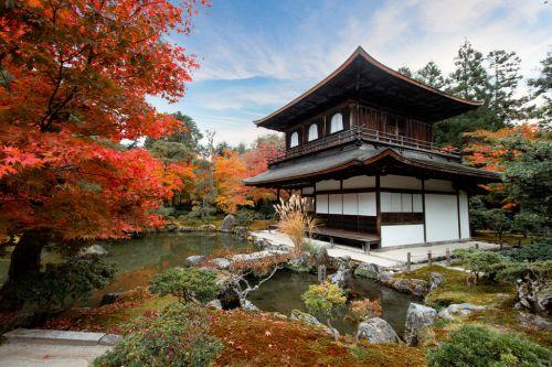 Le Pavillon d'Argent, Kyoto, Japon, couleurs d'automne